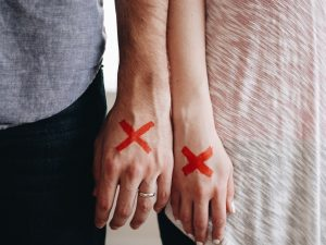 Hands of a couple with cross signs, divorce