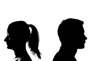 Silhouette of a breakup couple, child custody lawyers