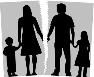 Cartoon illustration of divorce