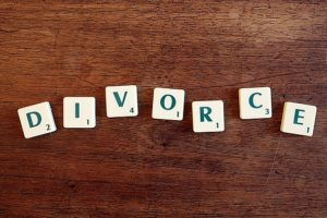 divorce word on each block