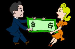 a cartoon couple dragging a dollar bill