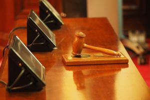 A law gavel at court