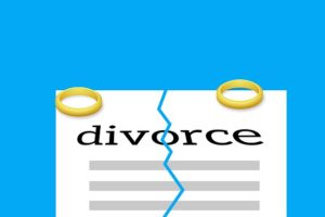 A divorce paper with two rings