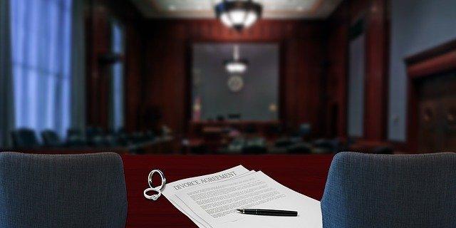 Divorce case in a court