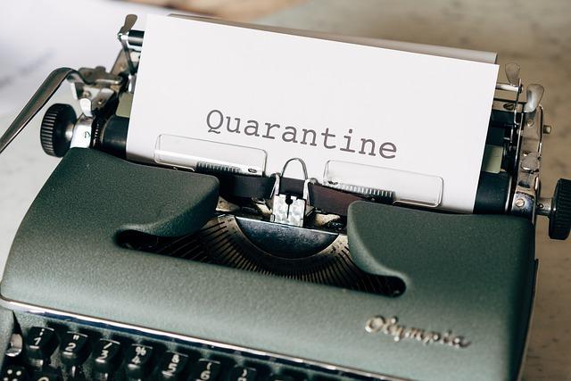 Quarantine typed from typewriter