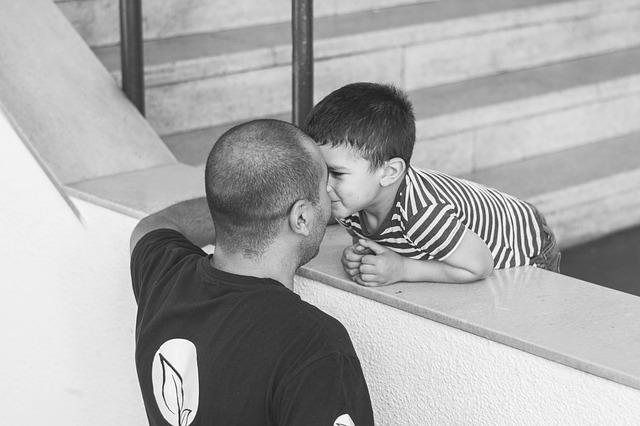 love moment between a father and his son