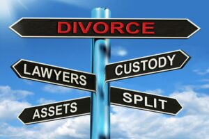 Road to divorce sign, lawyers, custody, assets, and split signs